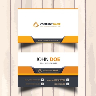Useful orange business card with geometric shapes