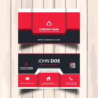 Useful red business card with geometric shapes