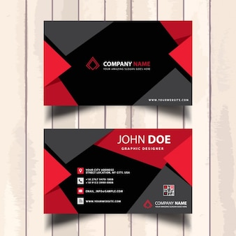 Useful red business card with polygonal shapes