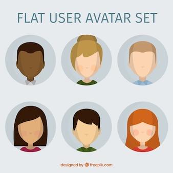 User avatar set in flat design