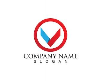 V文字ビジネスロゴとシンボルテンプレート