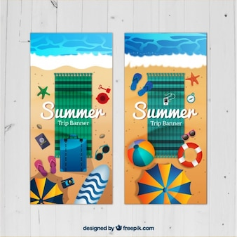 Vacation banners with beach towel and elements