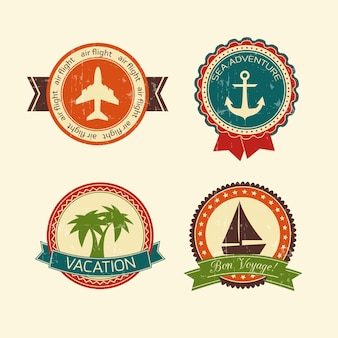 Vacations travel badges collection of yacht boat plane palm tree and anchor isolated vector illustration