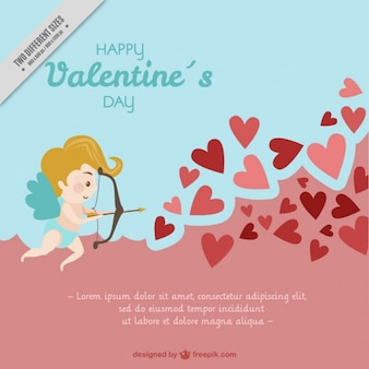 キューピッドと赤いハートとバレンタインの背景