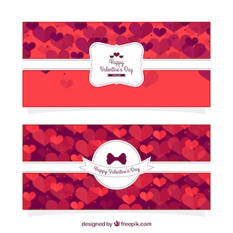 Valentine banners with hearts and white decorative label