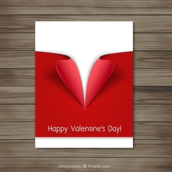 Valentine card with a red decoration