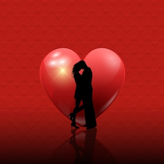Valentine couple silhouette on a red background