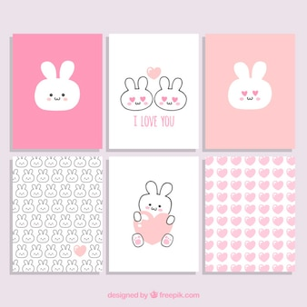 Valentine Day Bunny Cards Collection