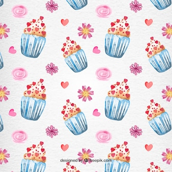 Valentine Day Cupcake Watercolor Pattern