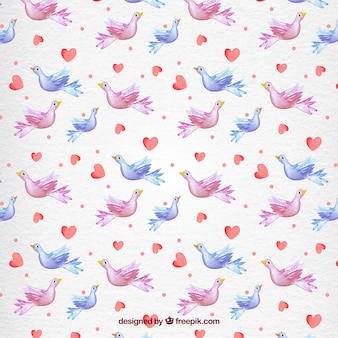 Valentine Day Doves Watercolor Pattern