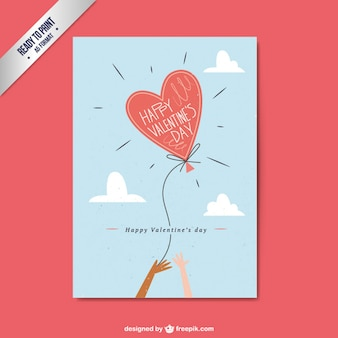 Valentine Day Flat Card with Heart Shaped Balloon