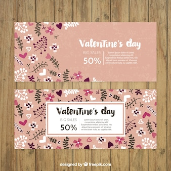 Valentine day floral banners