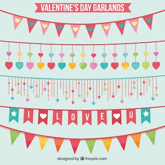 Valentine day garlands and buntings