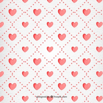 Valentine Day Watercolor Hearts Pattern