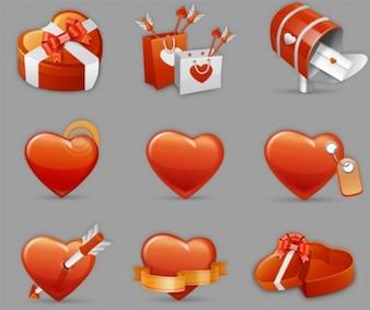 Valentine heart vector icons