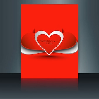Valentine love card in color red