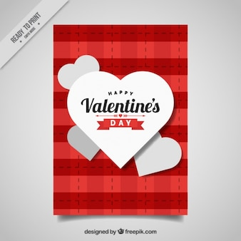 Valentine love card with hearts