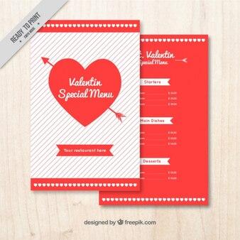 Valentine menu template with heart