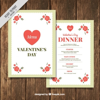 Valentine menu template with red flowers