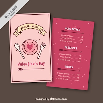 Valentine menu template with ribbon and arrows