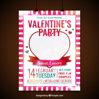 Valentine party poster with heart
