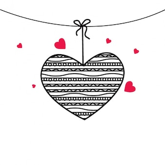 Valentine's background with heart hanging
