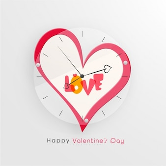 Valentine's background with heart-shaped clock