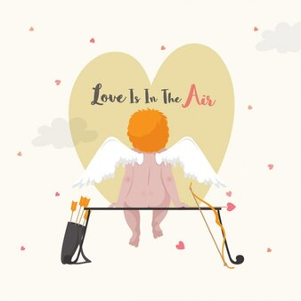 Valentine's background with rear view of cupid character sitting