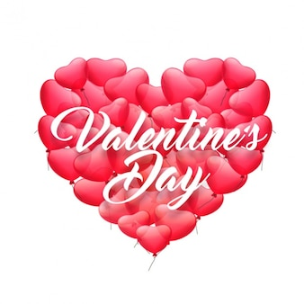 Valentine's background with red balloons