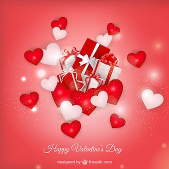 Valentine's background with red hearts and shiny shapes