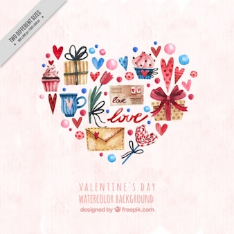 Valentine's background with watercolor objects