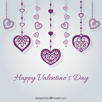Valentine's card with purple hearts