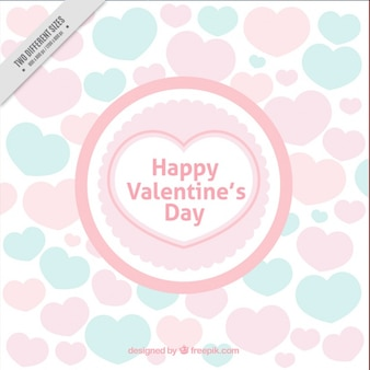 Valentine's day background with hearts in pastel colors
