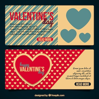 Valentine's day banners in vintage style