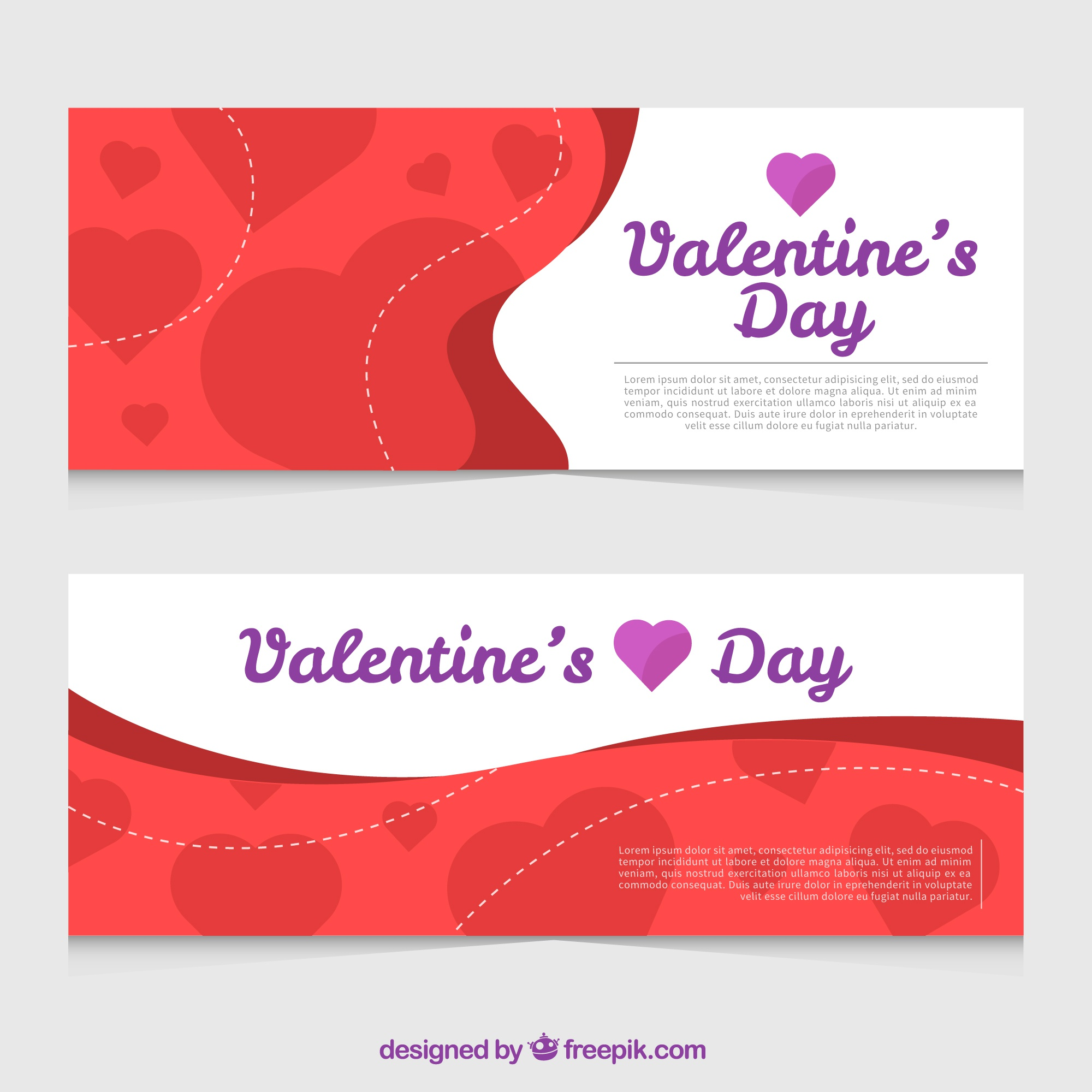 Valentine's day banners with purple details