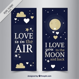Valentine's day banners with stars and moon