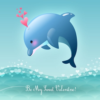 Valentine's Day Be My Sweet Valentine Leaping Dolphin Vector Illustration