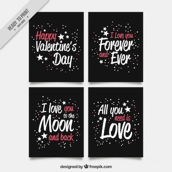 Valentine's day cards with white stars and red details