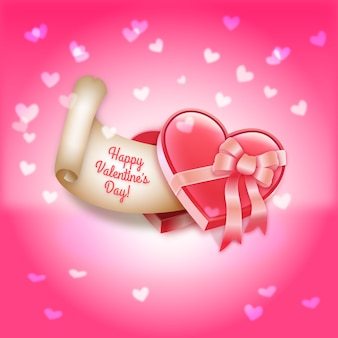 Valentine's Day Heart-Shaped Gift Box of Chocolates Vector Illustration