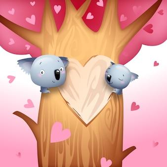 Valentine's Day Koala Bears with Love Hearts on Tree Vector Illustration