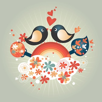 Valentine's Day Love Birds Exchange Romantic Hearts Vector Illustration