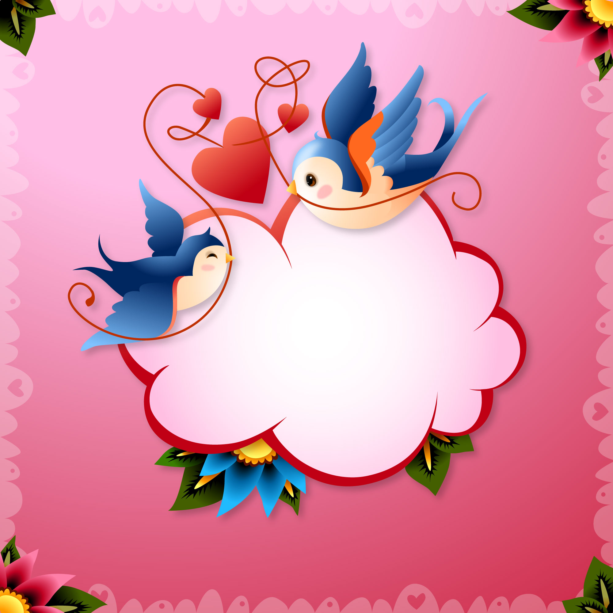 Valentine's Day Love Birds with Hearts and Word Balloon Vector Illustration