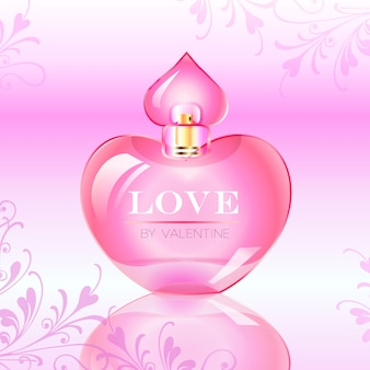 Valentine's Day Love Perfume Bottle Vector Illustration
