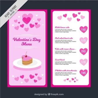 Valentine's day menu with cake and hearts