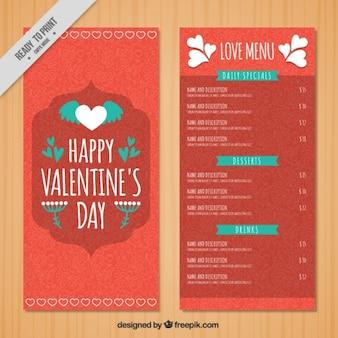 Valentine's day menu with green details