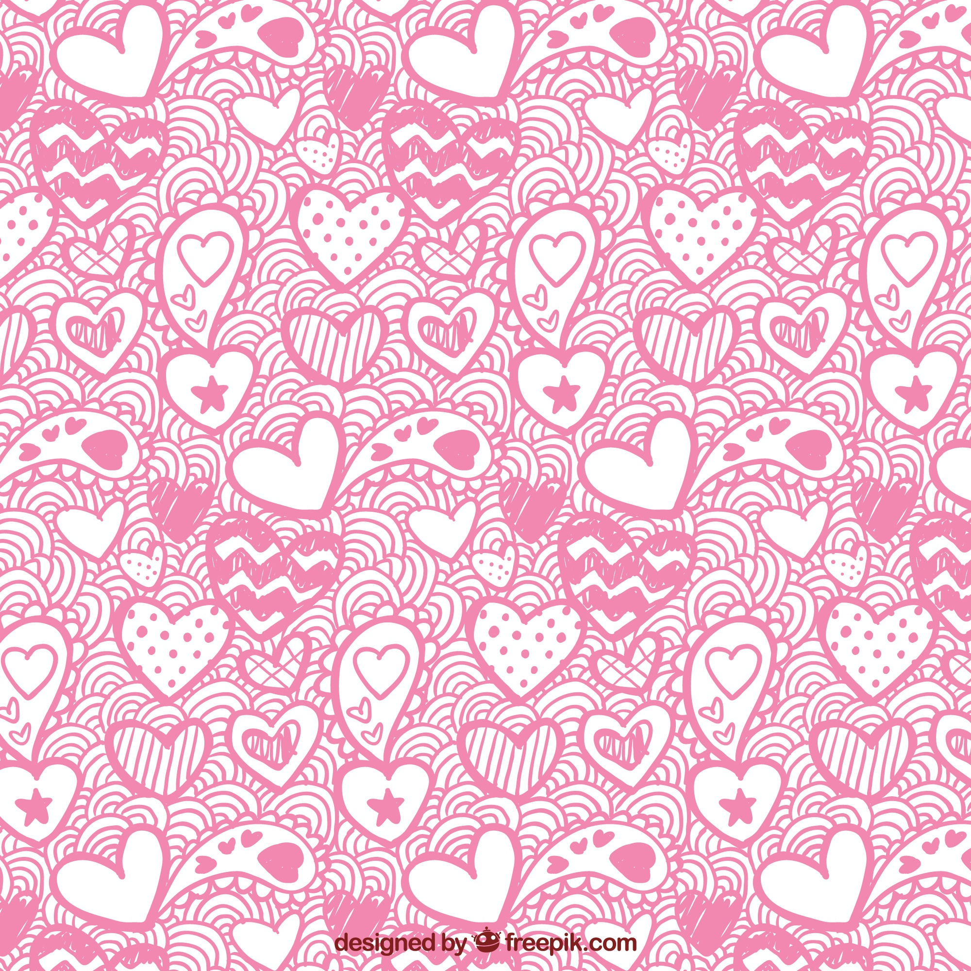 Valentine's day pattern of hand-drawn hearts