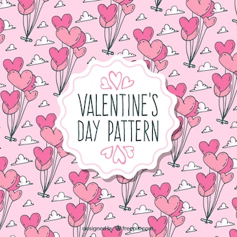 Valentine's day pattern with balloons in pink tones