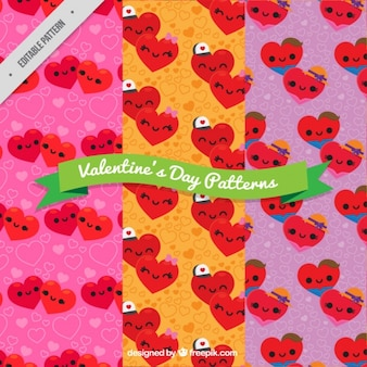 Valentine's day patterns of hearts with colorful backgrounds