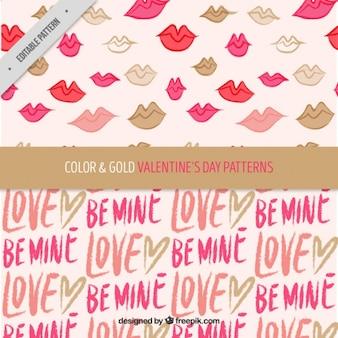 Valentine's day patterns with golden details