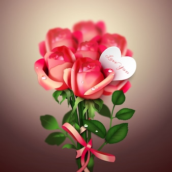 Valentine's Day Red Roses Expression of Love Vector Illustration